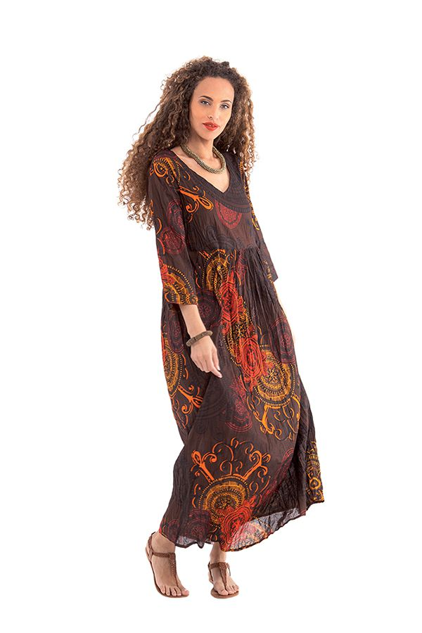 robe longue originale et coloree caloma a manches 3 4 marron. Black Bedroom Furniture Sets. Home Design Ideas