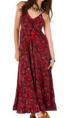 Robe Longue Originale et Ethnique Rouge Mavala 292106