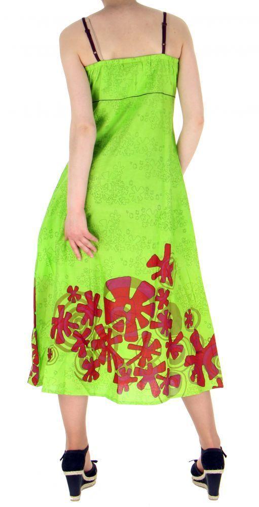 Robe longue originale imprimée flowah anis 255155