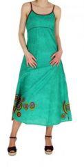 Robe longue originale imprimée flowah bleu 245123