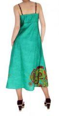 Robe longue originale imprimée flowah bleu 255156