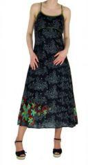 Robe longue originale imprimée flowah noir 245121