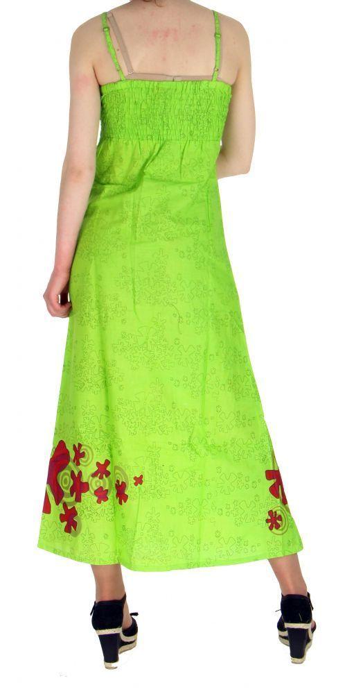 Robe longue originale imprimée tendance anis 255181