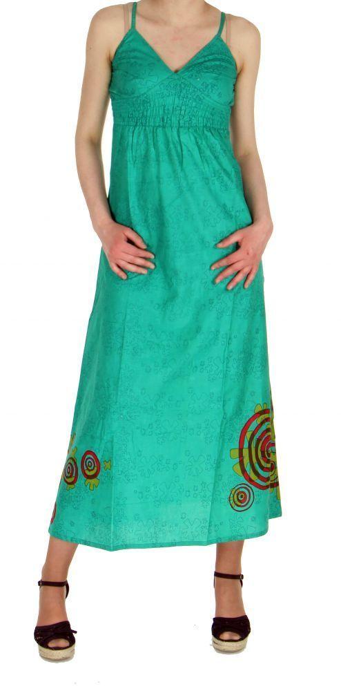 Robe longue originale imprimée tendance bleu 245149