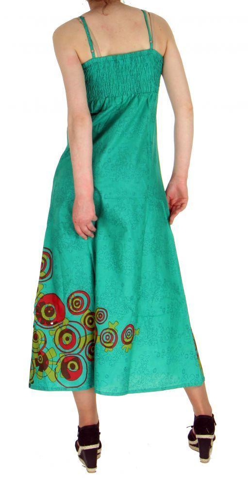 Robe longue originale imprimée tendance bleu 255182