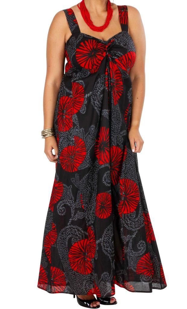 Robe longue originale noire et rouge grande taille Zofy 307941