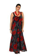 Robe longue originale noire et rouge grande taille Zofy 307942