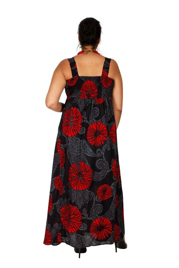 Robe longue originale noire et rouge grande taille Zofy 307943
