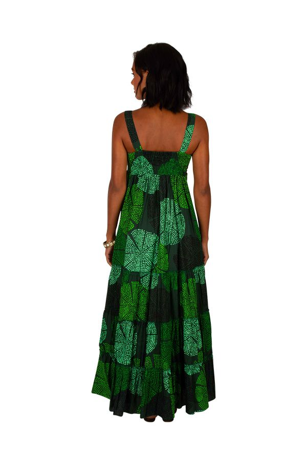 Robe longue originale verte style bohème femme Daria 309513