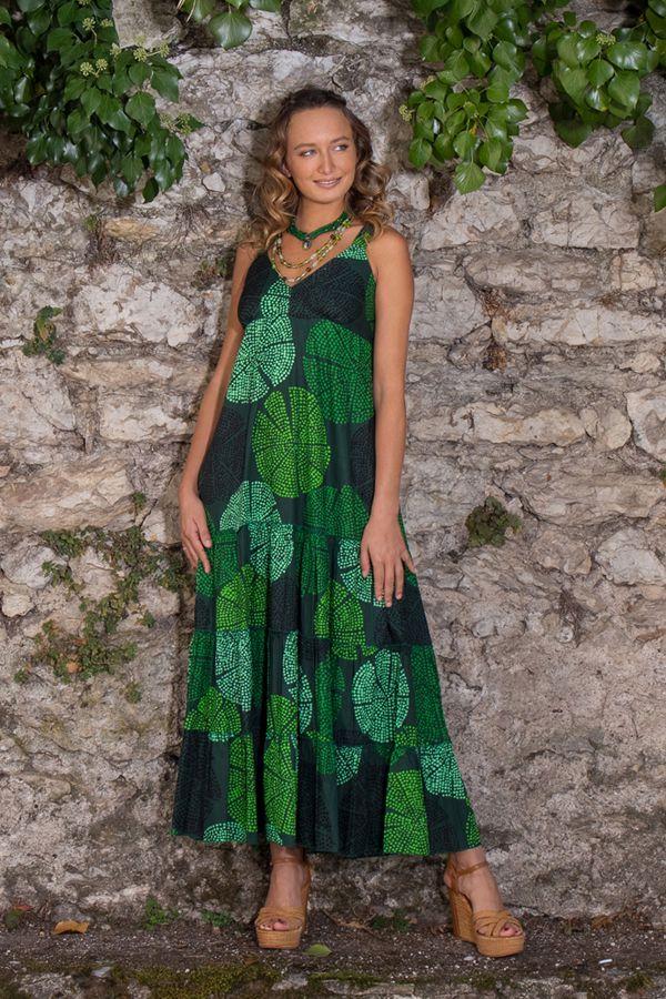 Robe longue originale verte style bohème femme Daria 309514