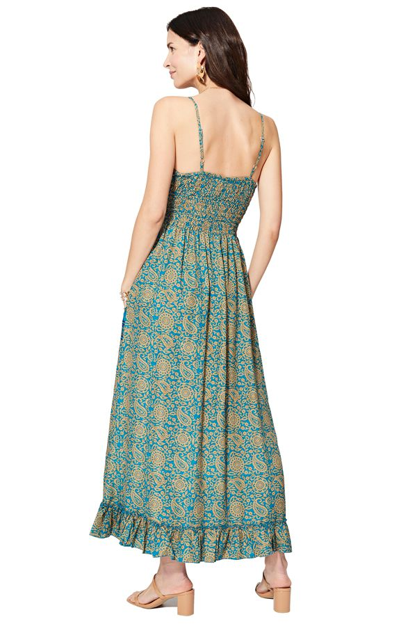 Robe longue pour femme à décolleté V et fines bretelles Loïs