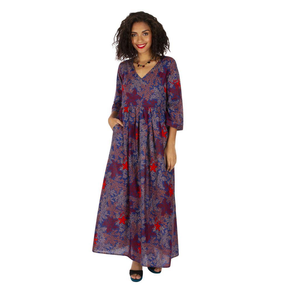 Robe longue pour femme ample et bohème à fleurs Ignas 315938