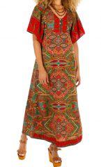 Robe longue pour femme ethnique esprit bohème Massaoua vert 314435