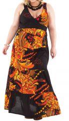 Robe longue pour Femme pulpeuse à Volants Ida Noire Flammée 284400