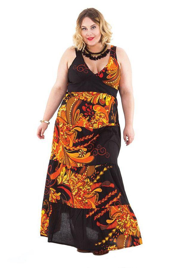 Robe longue pour femme pulpeuse volants ida noire flamm e - Femme pulpeuse image ...