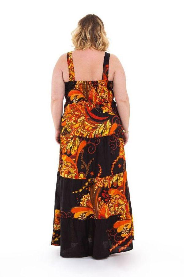 Robe longue pour Femme pulpeuse à Volants Ida Noire Flammée 284402