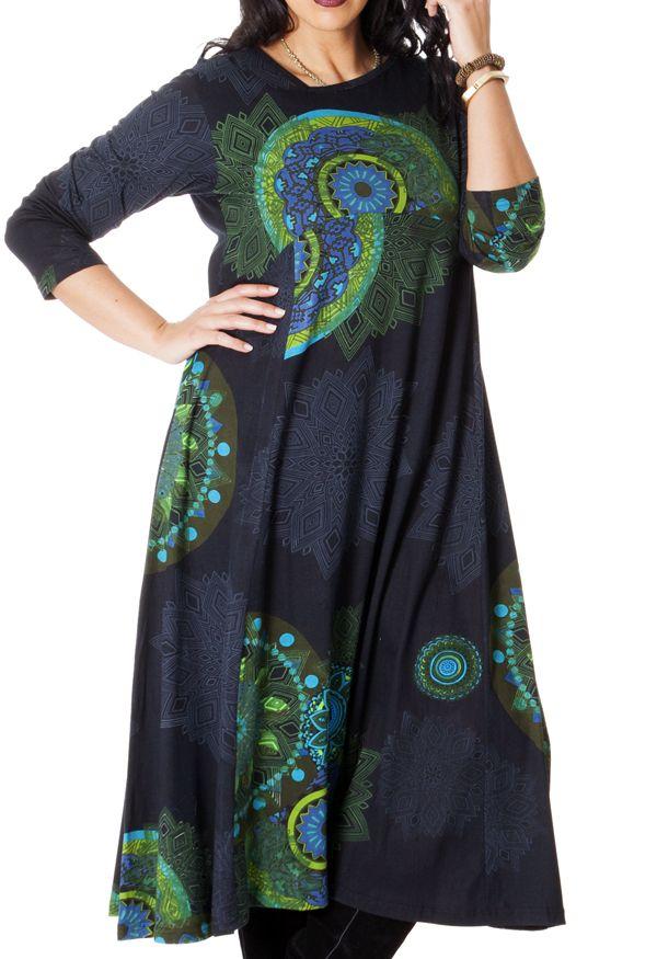 Robe longue pour femme ronde d'Inde et Ethnique Papaye à Mandalas 286763