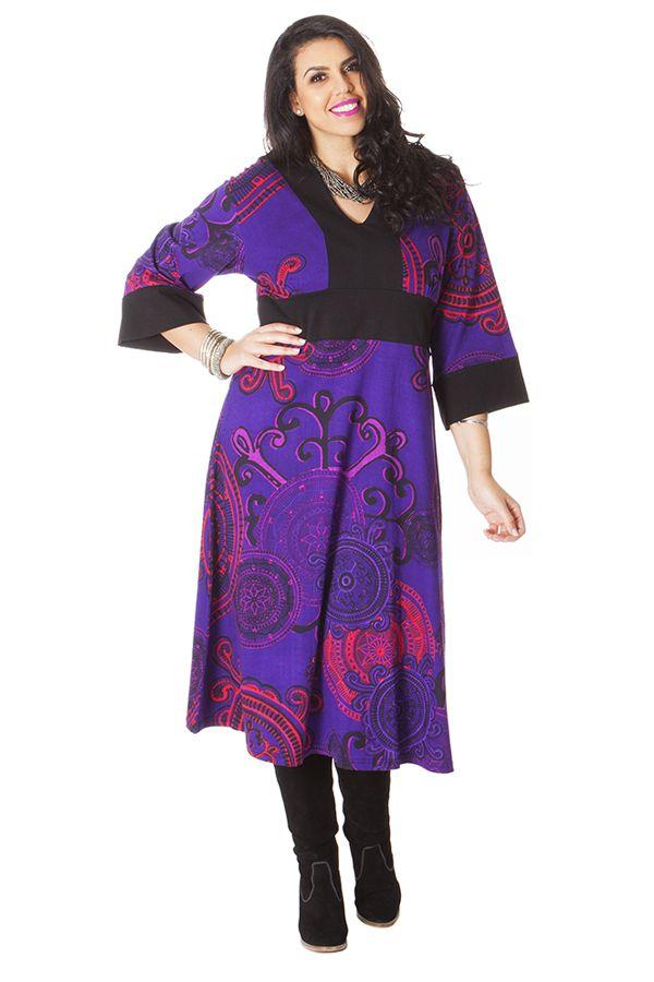 Robe longue pour femme ronde Tendance Kimono Johanna Violette 286301