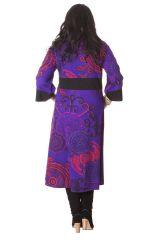 Robe longue pour femme ronde Tendance Kimono Johanna Violette 286302