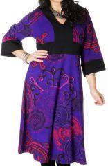 Robe longue pour femme ronde Tendance Kimono Johanna Violette 286753