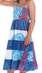 Robe longue pour Fille à bretelles Ethnique Nymphe à Mandalas Bleus 280407