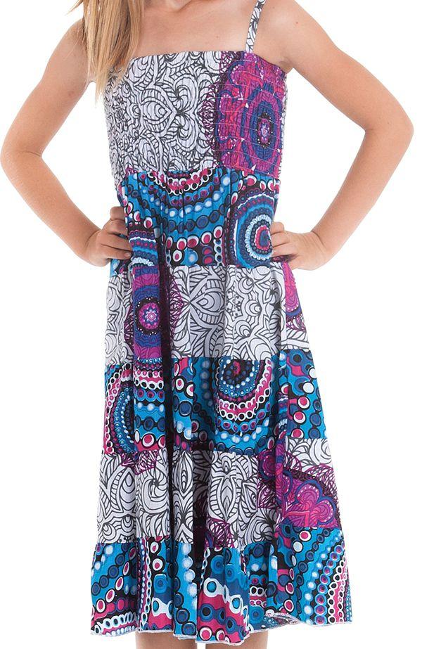 Robe longue pour Fille à bretelles Ethnique Nymphe à Mandalas Roses 280423