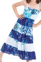 Robe longue pour Fille Blanche et Bleue à bretelles Ethnique Nymphe 280421