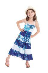 Robe longue pour Fille Blanche et Bleue à bretelles Ethnique Nymphe 280422