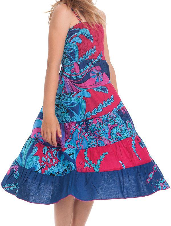 Robe longue pour Fille Rose et Bleue à bretelles Ethnique Nymphe 280410