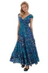 robe longue rayonnante smockée avec un décolleté pigeonnant Gaia 289295