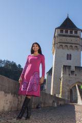 Robe longue rose à manches longues imprimée Valerie 318758