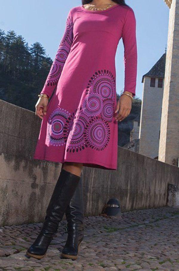 Robe longue rose à manches longues imprimée Valerie 318759