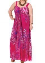 Robe longue Rose pour femme pulpeuse Ethnique et Originale Sensi 284229