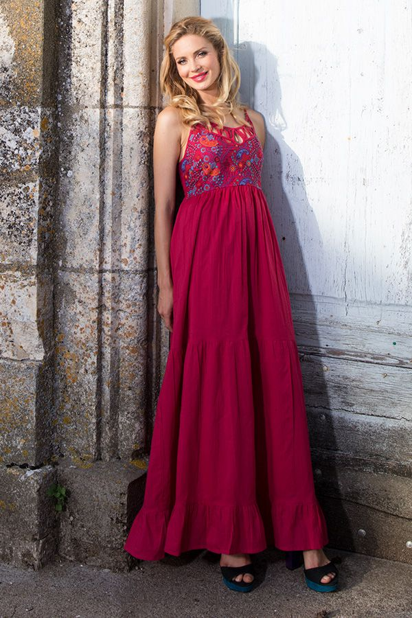 Robe longue rose top pour une cérémonie Jesica 288641