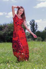 Robe longue Rouge à col modulable Ethnique et Colorée Acacia 282066