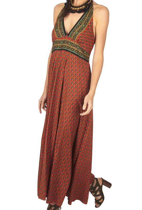 Robe longue rouge à dos nu imprimé wax pour cérémonie Sabiny