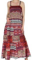 Robe longue Rouge voile de Coton esprit Indien et Ethnique Saguna 283234