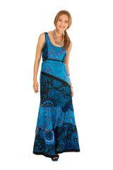 Robe longue sans manches d\'été en coton de couleur bleue Chaima