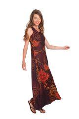 Robe longue sans manches Ethnique à Mandalas Jasmine Marron 282033