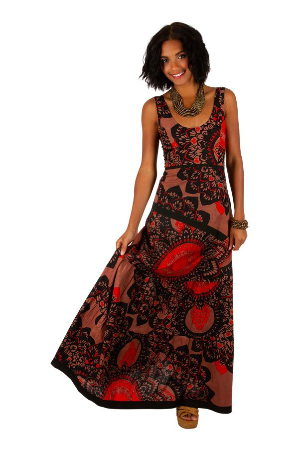 Robe longue style bohème à bretelles larges en coton Adrielle