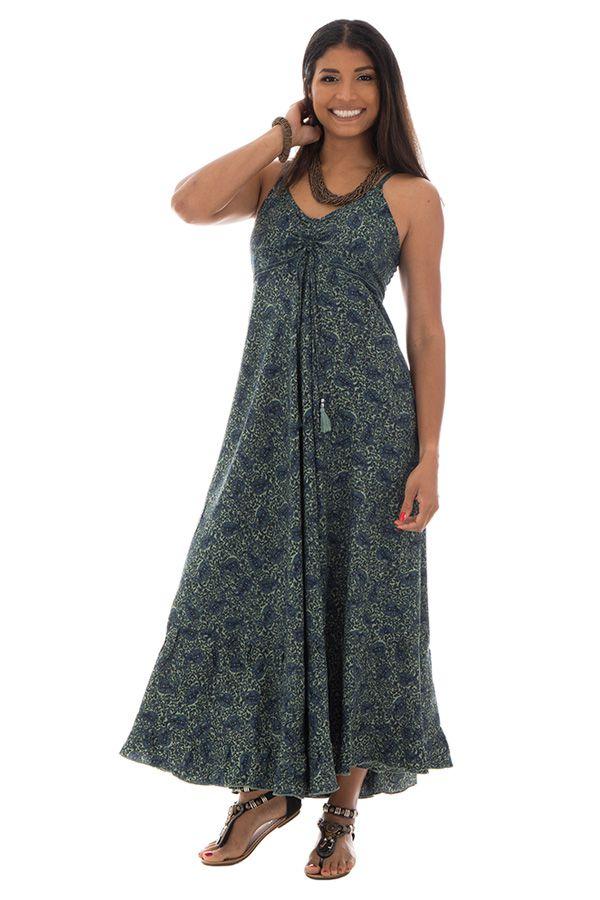 robe longue style boh me fines bretelles et col en v malena. Black Bedroom Furniture Sets. Home Design Ideas