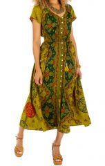 Robe longue style bohème boutonnée au devant Lidia 306113