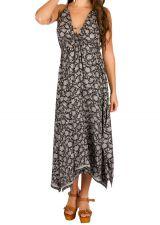 Robe longue style chic avec imprimé floral noir&blanc Dolly 293150