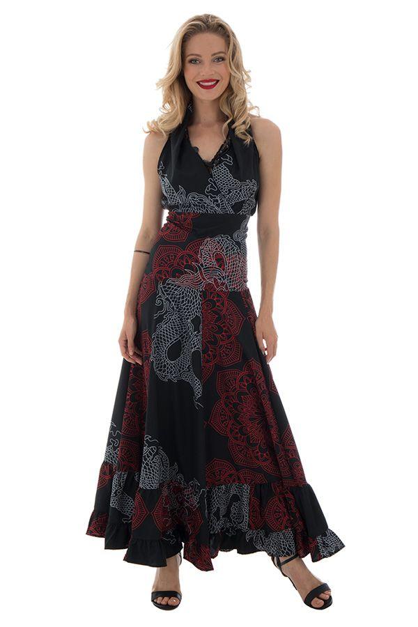 f2d960956ecd robe longue sublime col cache coeur avec imprimés ethniques Nupura 289268.  Loading zoom