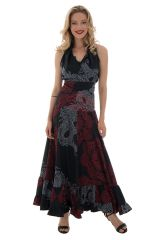 robe longue sublime col cache coeur avec imprimés ethniques Nupura 289268