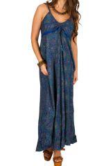 Robe longue tendance à fines bretelles et col rond Marie-jeanne 293326