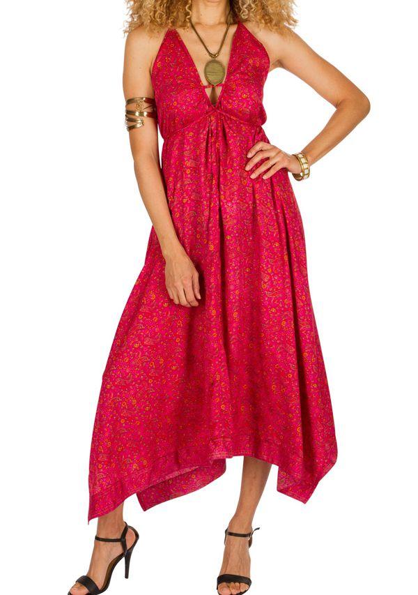 Robe longue tendance avec col pigeonnant et imprimés rose Dolly 293144