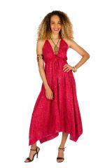 Robe longue tendance avec col pigeonnant et imprimés rose Dolly 293145
