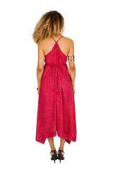 Robe longue tendance avec col pigeonnant et imprimés rose Dolly 293146