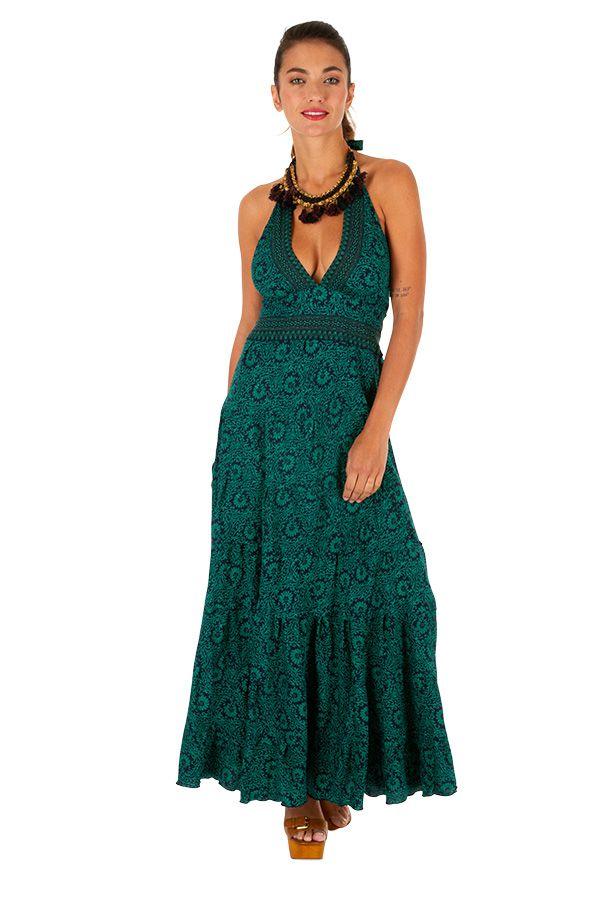 Robe longue turquoise à nouée autour du cou Gémina